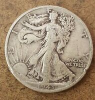 1943-D   WALKING LIBERTY HALF DOLLAR  90 SILVER COIN  42