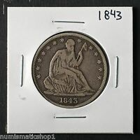 1843 SEATED LIBERTY HALF DOLLAR NICE PHILADELPHIA MINT 50 CENT SILVER COIN