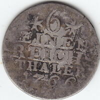 1766 GERMAN STATES   PRUSSIA   1/6 THALER COIN