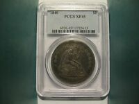 1840 SEATED LIBERTY DOLLAR PCGS XF45