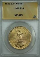 1926 $20 DOLLAR ST. GAUDENS DOUBLE EAGLE GOLD COIN ANACS MS 63 BP