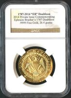 2014 PURE GOLD PRIVATE ISSUE COMMEMORATING BRASHER'S 1787 DOUBLOON NGC  136361