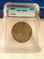 1803 50C DRAPED BUST HALF DOLLAR COIN ICG VF 30 LARGE 3 OVERTON 102-A