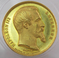 1860 NAPOLEON III FRANCE 22K GOLD MEDAL MINISTRY OF AGRICULTURE COMMERCE AWARD