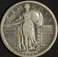 1917 S TYPE 1  SILVER STANDING LIBERTY QUARTER  KEY DATE F VF