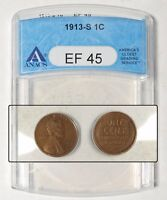1913 S  US LINCOLN CENT, EARLY DATE  ANACS EF 45
