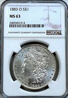 1883 O MORGAN DOLLAR: NGC MS63   BLAZING WHITE   CHOICE BU AT