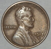 1913 S  US LINCOLN WHEAT CENT, VF