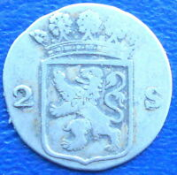 SILVER 1790 DUTCH NETHERLANDS COLONIAL HOLLAND 2 STUIVERS CIRULATED MSB32