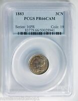 1883 THREE CENT NICKEL PCGS PR66CAM PROOF CAMEO 3 NICE TONING