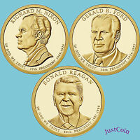 2016 P NIXON FORD REAGAN PRESIDENTIAL GOLDEN DOLLARS 3 COINS SET UNCIRCULATED