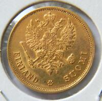 FINLAND UNDER RUSSIA ALEXANDER II: 1878 S GOLD 10 MARKKAA 1ST YR OF ISSUE; AU