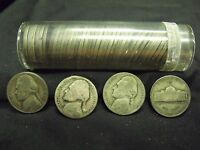 US 1942 45 ROLL OF CIRCULATED JEFFERSON WAR NICKELS IN PLASTIC TUBE