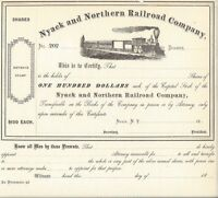 NYACK AND NORTHERN RAILROAD COMPANY.1800'S UNISSUED STOCK CERTIFICATE