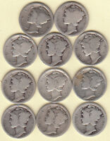 1916 P&S 1917 PD&S 1918 PD&S 1919 PD&S 11 DIFFERENT/EARLY TEEN/MERCURY DIMES