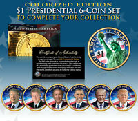 LIVING PRESIDENTS 2016 PRESIDENTIAL $1 DOLLAR COLORIZED 2 SIDED 5 COIN FULL SET