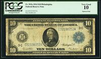 1914 PHILLY USA FEDERAL RESERVE NOTE $10 FEDERAL RESERVE PCGS VG10 FR. 915A