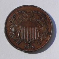 1871 TWO CENT PIECE  CHOICE UNCIRCULATED BROWN