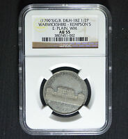 1790'S ND WARWICKSHIRE KEMPSON'S HALFPENNY CONDER TOKEN D&H 182 NGC AU55