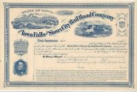 IOWA FALLS AND SIOUX CITY RAILROAD COMPANY.1800'S UNISSUED STOCK CERTIFICATE