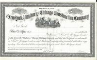 THE NEW YORK,PITTSBURG AND CHICAGO CONSTRUCTION COMPANY.1880'S CERTIFICATE