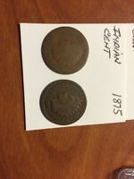1865 1875 INDIAN HEAD SMALL CENTS 12/8