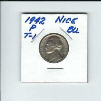 1942 P TYPE 1 JEFFERSON NICKEL IN BRILLIANT UNCIRCULATED CONDITION