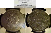 1796 DRAPED BUST LARGE CENT S-115 REVERSE OF 1797 NGC F15. FIRST YEAR OF ISSUE.
