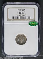 1888 U.S. THREE CENT NICKEL GORGEOUS NGC PF65  CAC STICKER