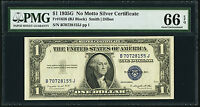 1935G USA SILVER CERTIFICATE SMALL $1 PMG GEM UNC 66 EPQ FR. 1616