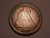1868 S SEATED LIBERTY QUARTER VF R & ATTRACTIVE