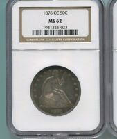 1876 CC SEATED LIBERTY HALF NGC MS62 SUPER TONED LOOKS MUCH BETTER THAN PICS