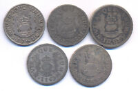 MEXICO PILLAR 1 REAL 5 PIECES LARGE LOT 1741 69 UNHOLED