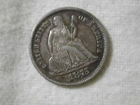 1875 U.S LIBERTY SEATED DIME VARIETY 4 EXTRA FINE