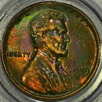1959 D LINCOLN CENT BU  RAINBOW TONE COLORFUL TONING COLOR 1C 5