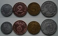 NAZI GERMANY LOT OF 4 COINS; 1;2;5;50 RPF1935 42
