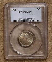 1905 LIBERTY HEAD NICKEL PCGS GRADED MINT STATE 63 V-NICKEL BEAUTIFUL USA COIN