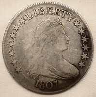 1807 DRAPED BUST HALF DOLLAR LARGE LETTERS F DETAILS COIN