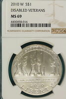 2010 W NGC MS69 DISABLED VETERANS COMMEMORATIVE DOLLAR   A7849