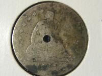1856 O SEATED LIBERTY QUARTER   90 SILVER   HOLED
