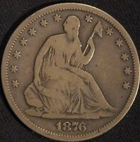 1876 S SILVER SEATED LIBERTY HALF DOLLAR VG