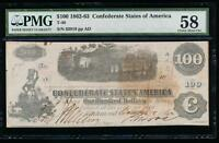 AC T 40 $100 1862 CONFEDERATE CSA PMG 58 TRAIN NOTE