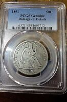 1891 SEATED LIBERTY HALF DOLLAR. 50 CENTS    KEY DATE  PCGS FINE DETAILS