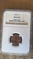 1944 S LINCOLN CENT NGC MS67 RD