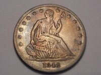1842 O SEATED LIBERTY HALF DOLLAR VF & ATTRACTIVE