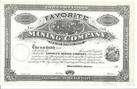 FAVORITE MINING COMPANYBLUE HILL MAINE1880'S UNISSUED STOCK CERTIFICATE