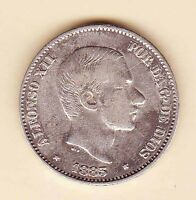 SPAIN PHILIPPINES ALFONSO XII 50 CENTAVOS 1883 SILVER