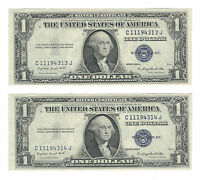 2 CONSECUTIVE 1935G NO MOTTO ONE DOLLAR SILVER CERTS FR1616 CRISP UNC