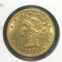 1893 $10 GOLD LIBERTY PRE 33 TYPE GOLD RAW XF TO AU DETAILS