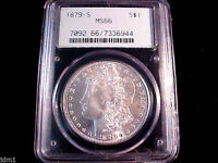1879-S MORGAN SILVER DOLLAR $1 PCGS MINT STATE 66   AWESOME MAKE US AN OFFER